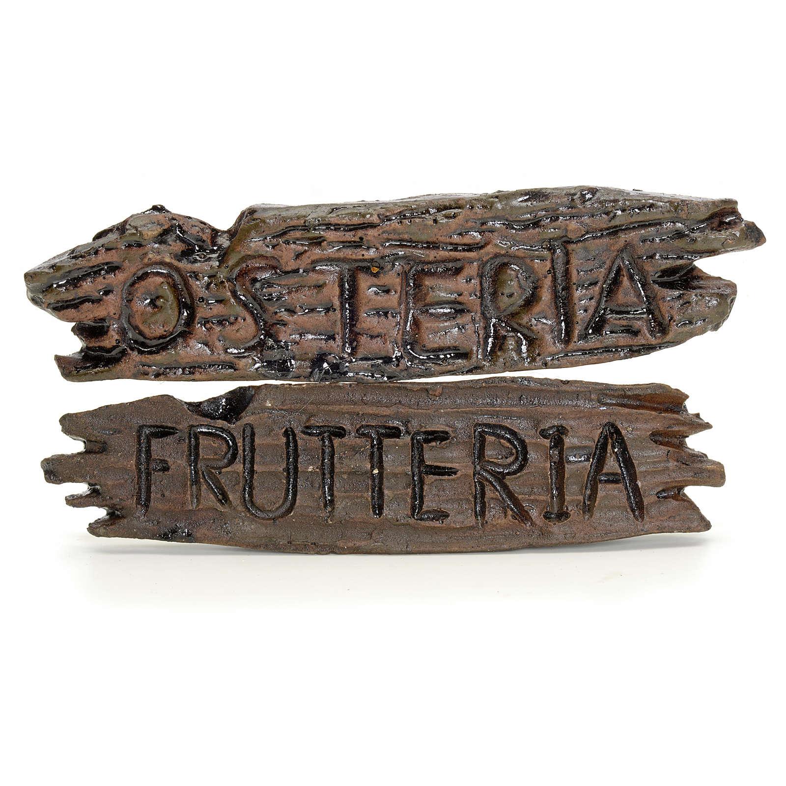 Nativity shop sign: Osteria, Frutteria 6x1.5cm 4