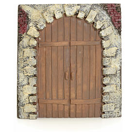 Nativity accessory, resin arched door 15x14cm s1