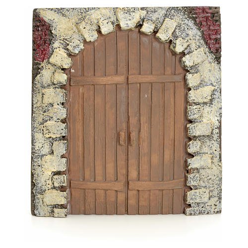Nativity accessory, resin arched door 15x14cm 1