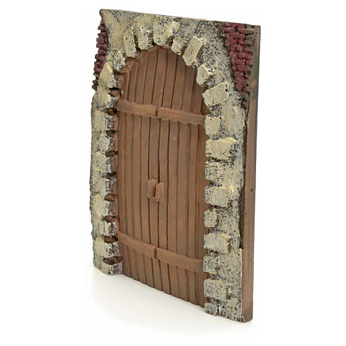 Nativity accessory, resin arched door 15x14cm 2