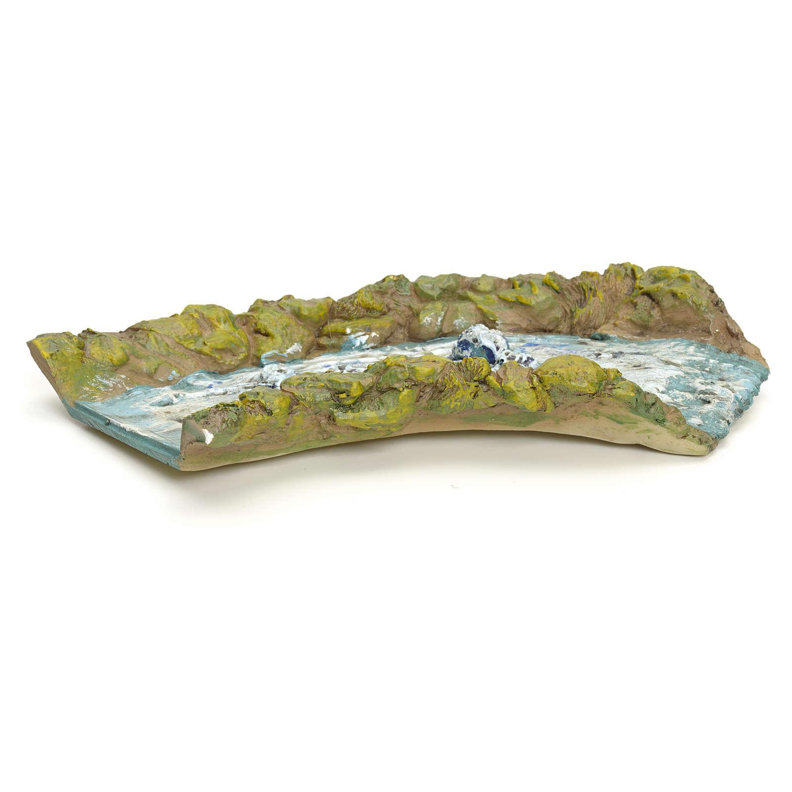 Tratto di ruscello presepe in resina cm 27.5x14x4 4