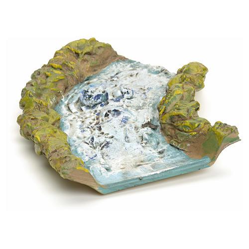 Tratto di ruscello presepe in resina cm 27.5x14x4 1