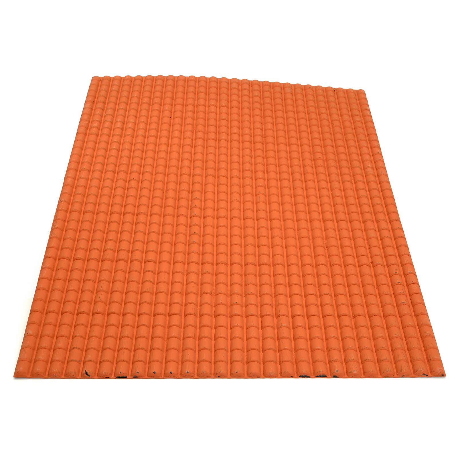 Toit en tuiles: plaque plastique couleur terre cuite de 50x70 cm 4