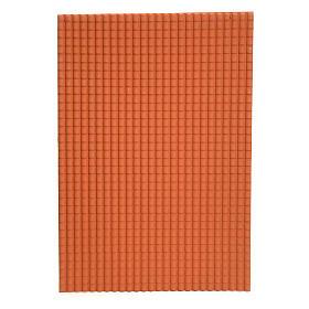 Toit en tuiles: plaque plastique couleur terre cuite de 50x70 cm s1