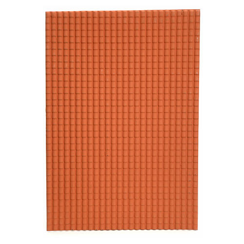 Toit en tuiles: plaque plastique couleur terre cuite de 50x70 cm 1