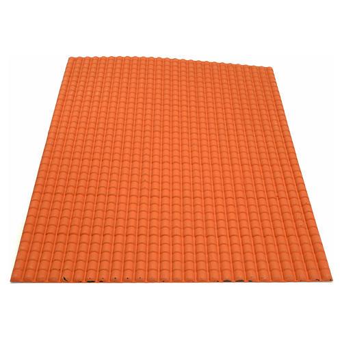 Toit en tuiles: plaque plastique couleur terre cuite de 50x70 cm 2