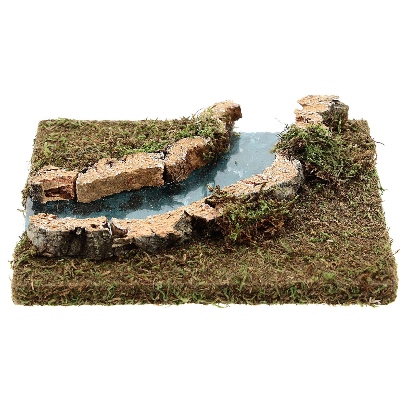 Nativity setting, modular river in cork, right turn 4