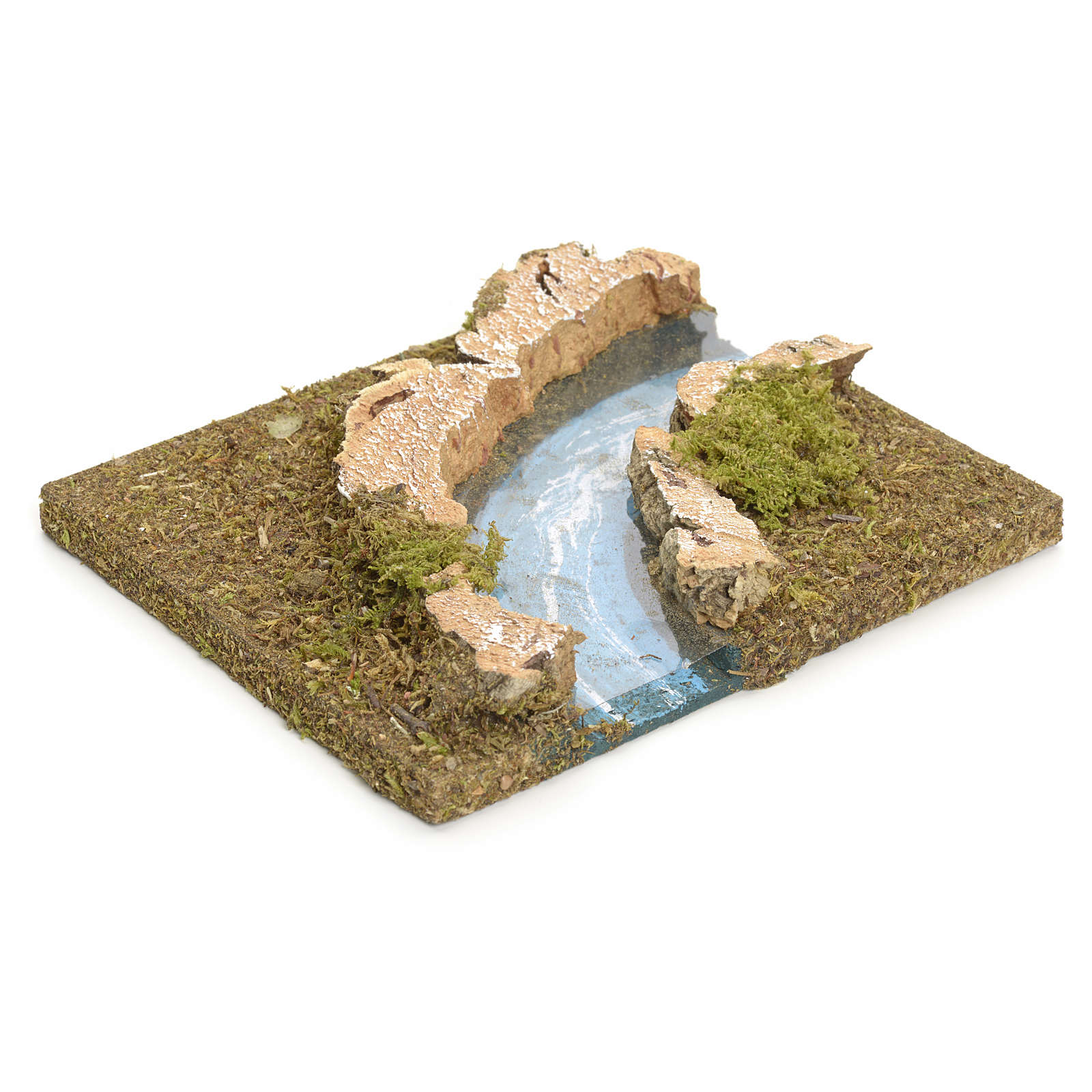 Nativity setting, modular river in cork, right turn 4