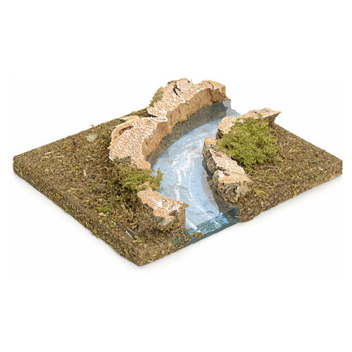 Nativity setting, modular river in cork, right turn 2