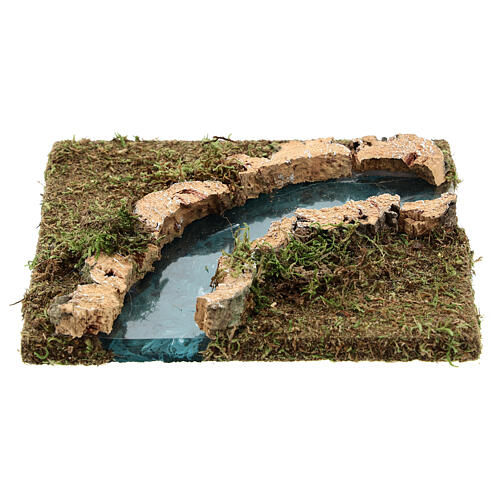 Nativity setting, modular river in cork, right turn 1