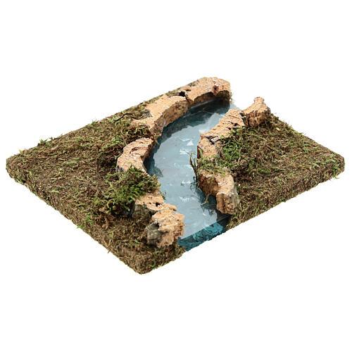 Nativity setting, modular river in cork, right turn 3