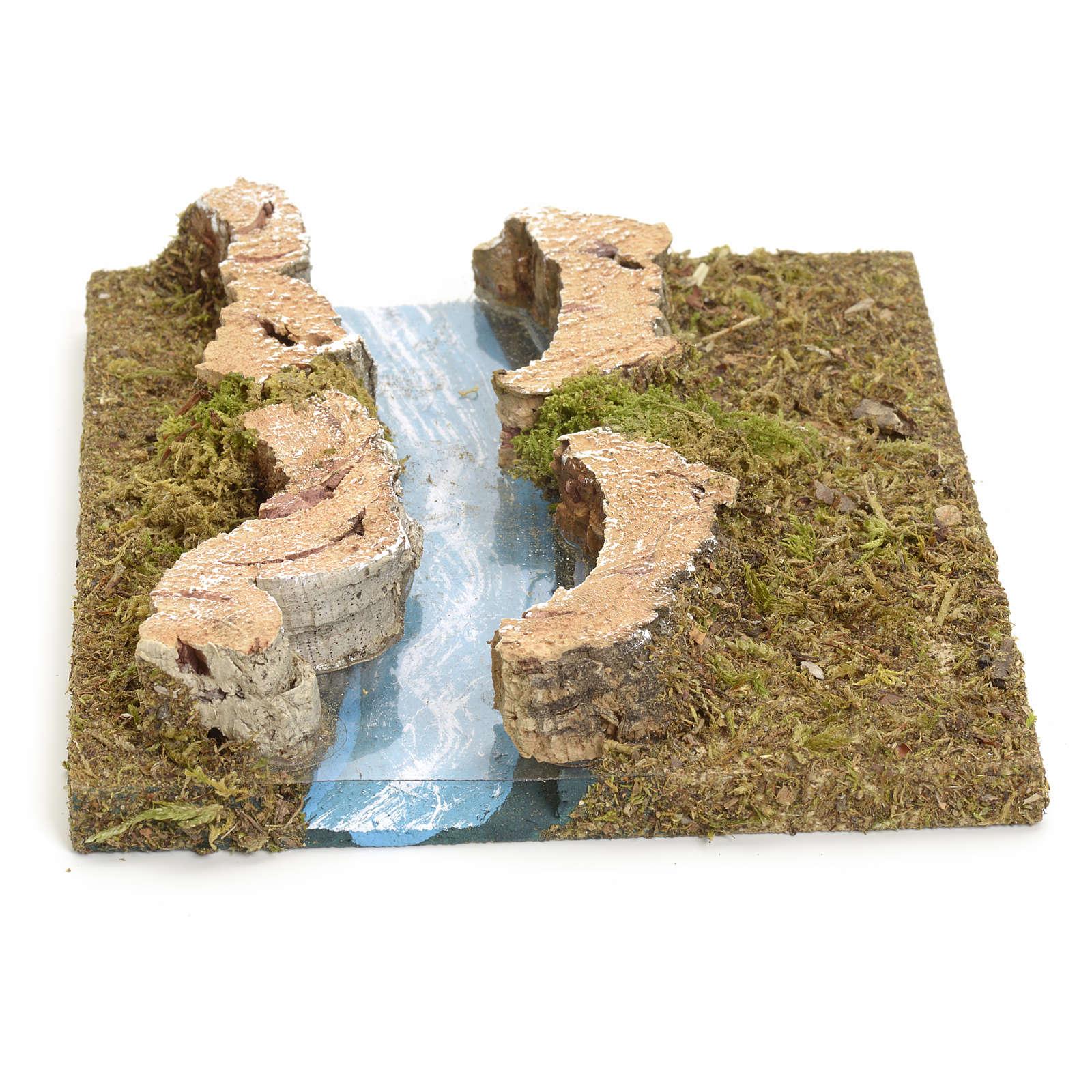 Nativity setting, modular river in cork, straight part 4