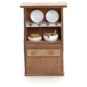 Nativity accessory, cupboard with plates s1