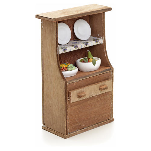 Nativity accessory, cupboard with plates 2