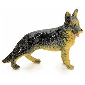 Wolfshund aus Harz für die Krippe 12 cm groß s1