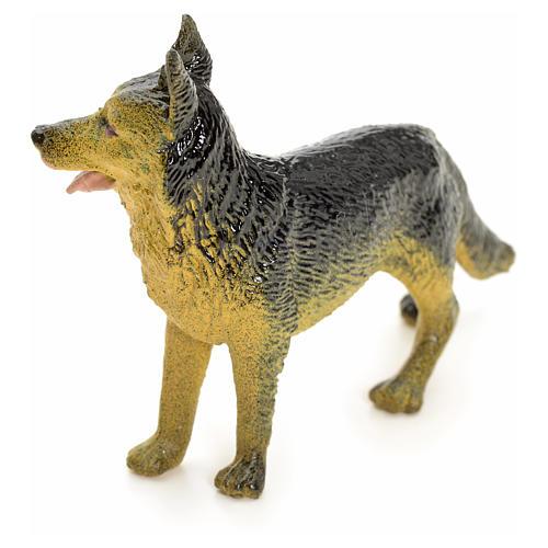 Wolfshund aus Harz für die Krippe 12 cm groß 2