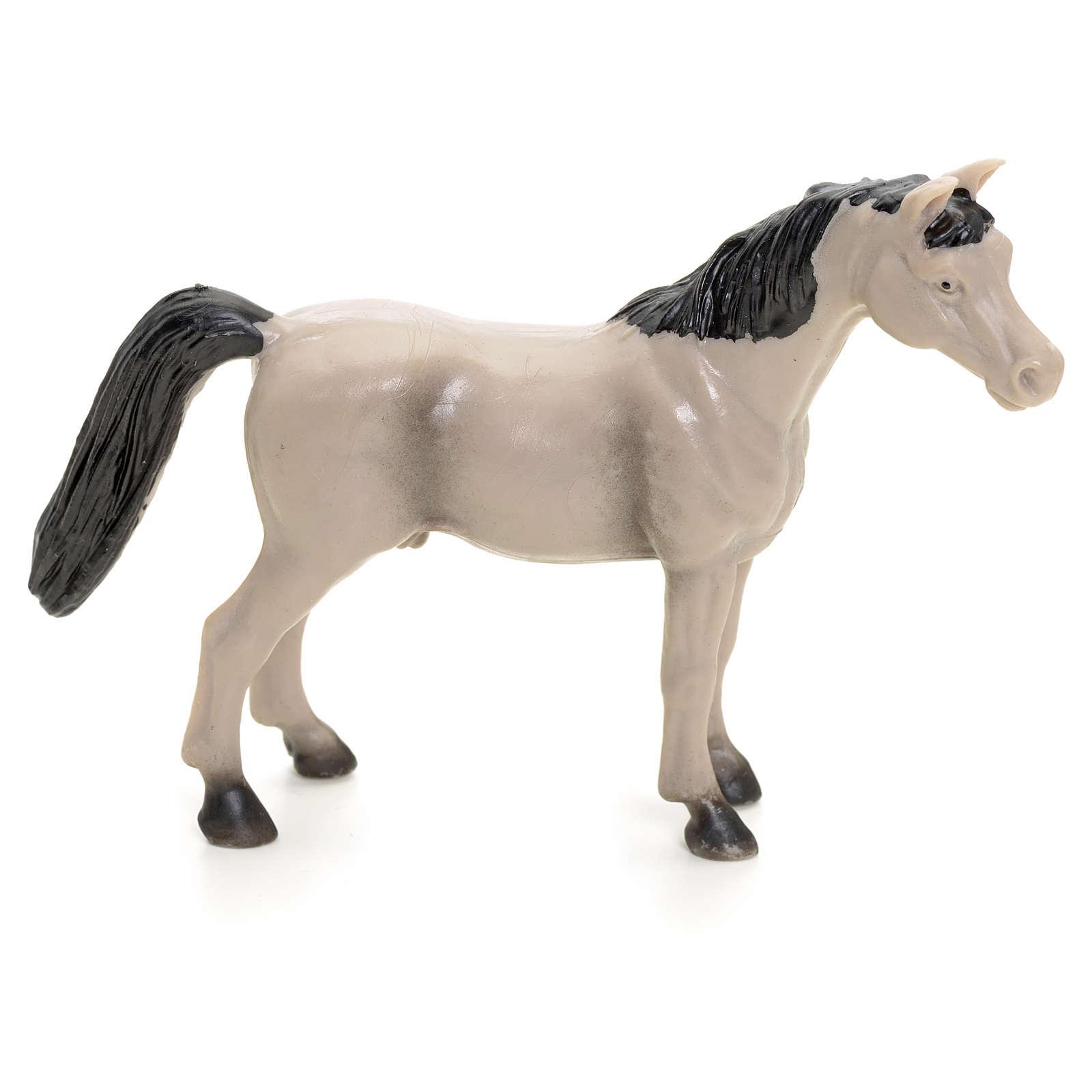 Cavallo grigio 10 cm presepe 3