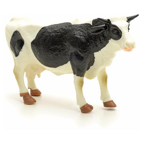Vaca blanca y negra pesebre 10 cm 3