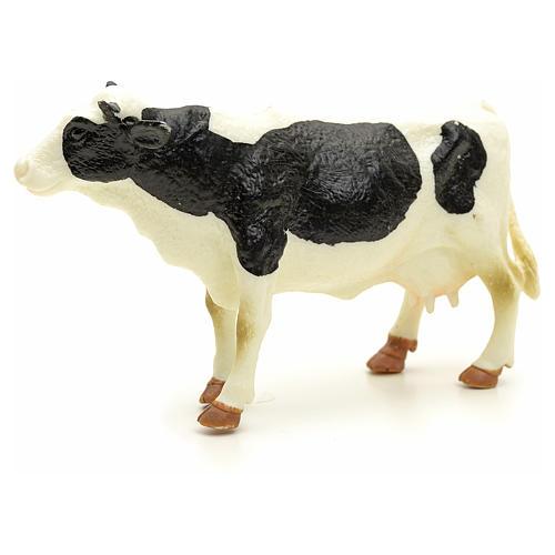 Vaca blanca y negra pesebre 10 cm 2