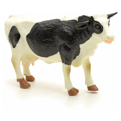 Nativity figurine, black and white cow 10 cm 3