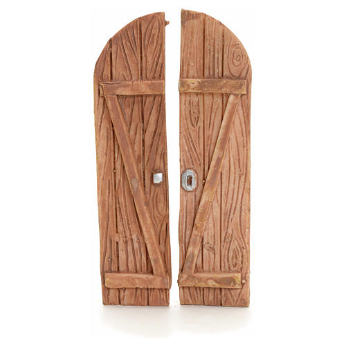 Nativity accessory, resin arched double door 1