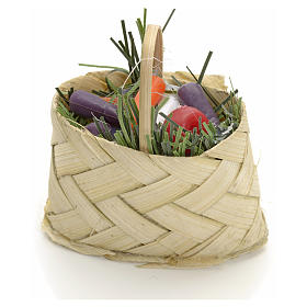 Miniature food: Nativity accessory, wicker basket with vegetables do-it-yourself