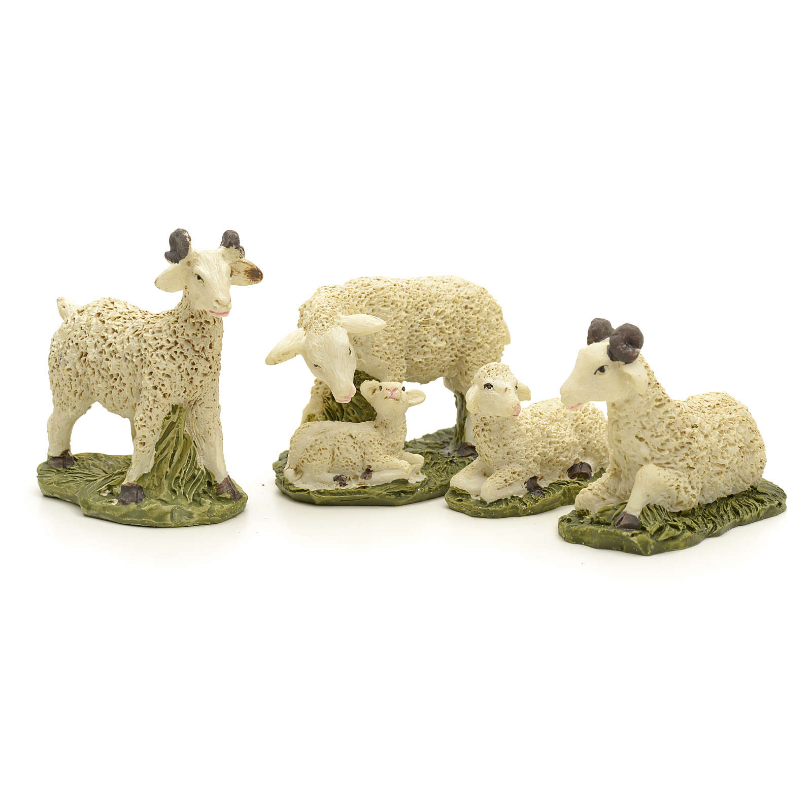 Pecore in resina presepe 10 cm set 4 pz 3