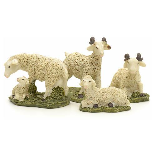 Pecore in resina presepe 10 cm set 4 pz 2