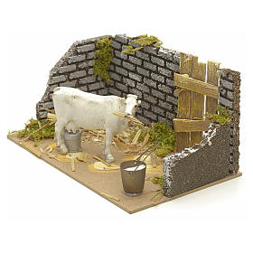 Nativity setting with cow 15x20x12cm s2