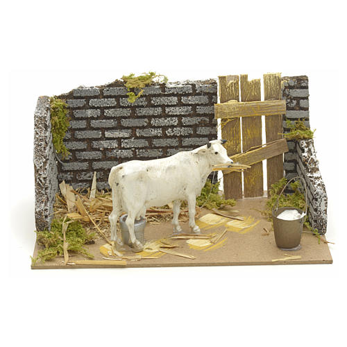 Nativity setting with cow 15x20x12cm 1