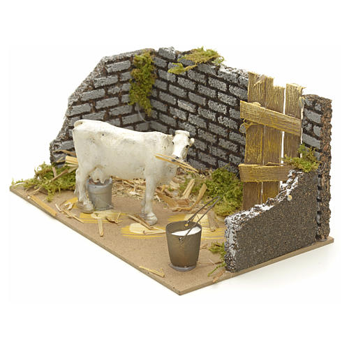 Nativity setting with cow 15x20x12cm 2