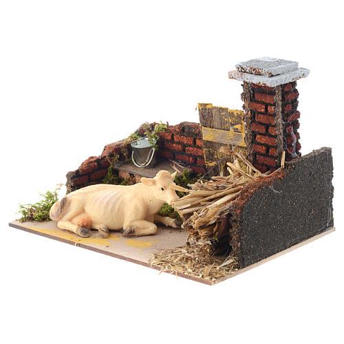 Krippenszene mit Kuh und Futterkrippe 15x20x12 cm 3
