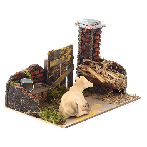 Nativity setting with cow and manger 15x20x12cm 2