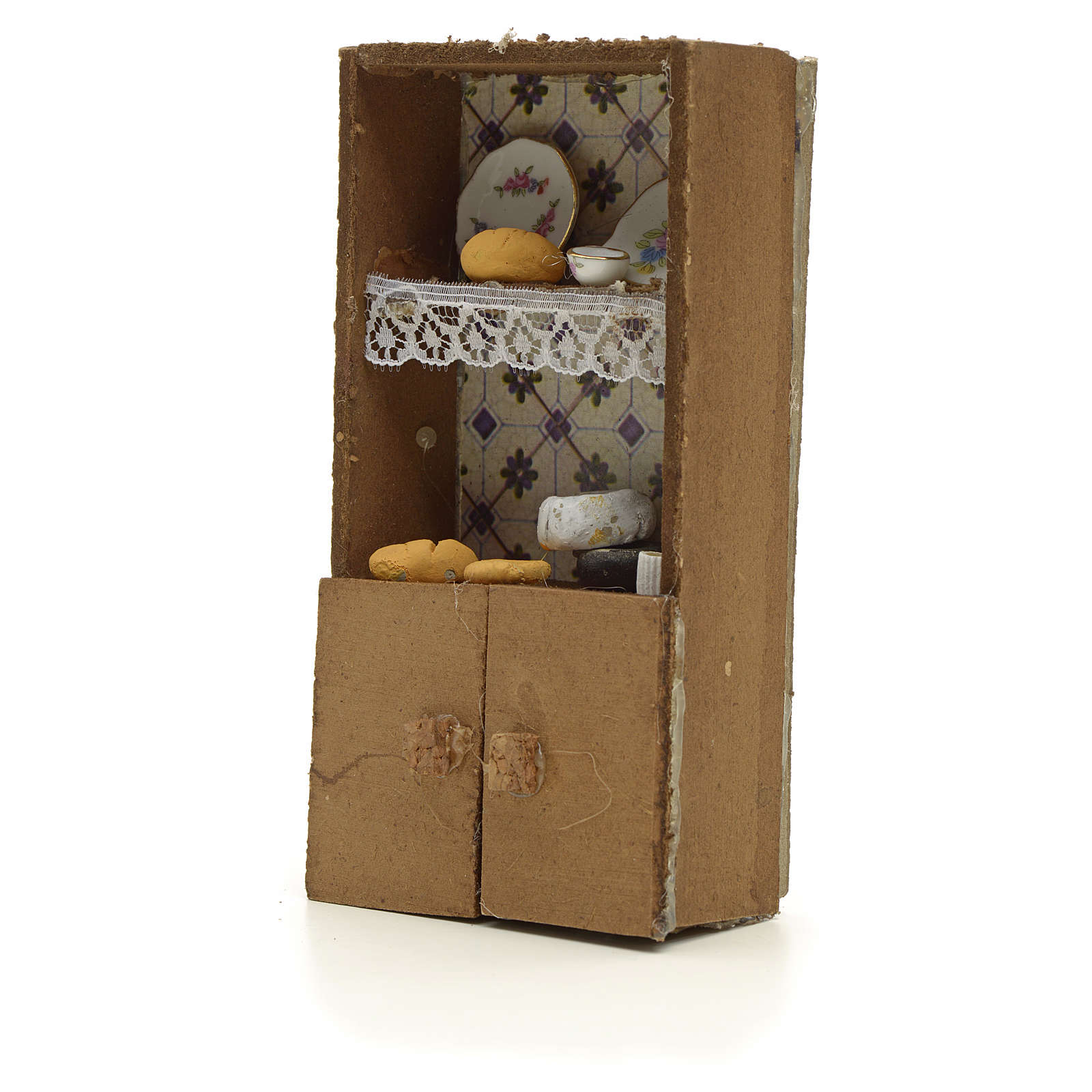 Nativity accessory, cupboard with bread and cheese 13x7x2.5cm 4