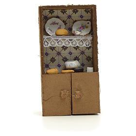 Acessórios de Casa para Presépio: Prateleiras presépio com pão e queijo 13x7x2,5 cm