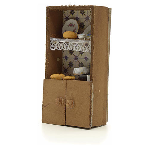 Nativity accessory, cupboard with bread and cheese 13x7x2.5cm 2