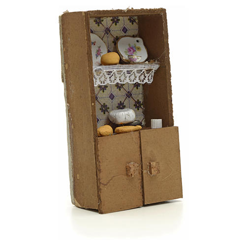 Nativity accessory, cupboard with bread and cheese 13x7x2.5cm 3