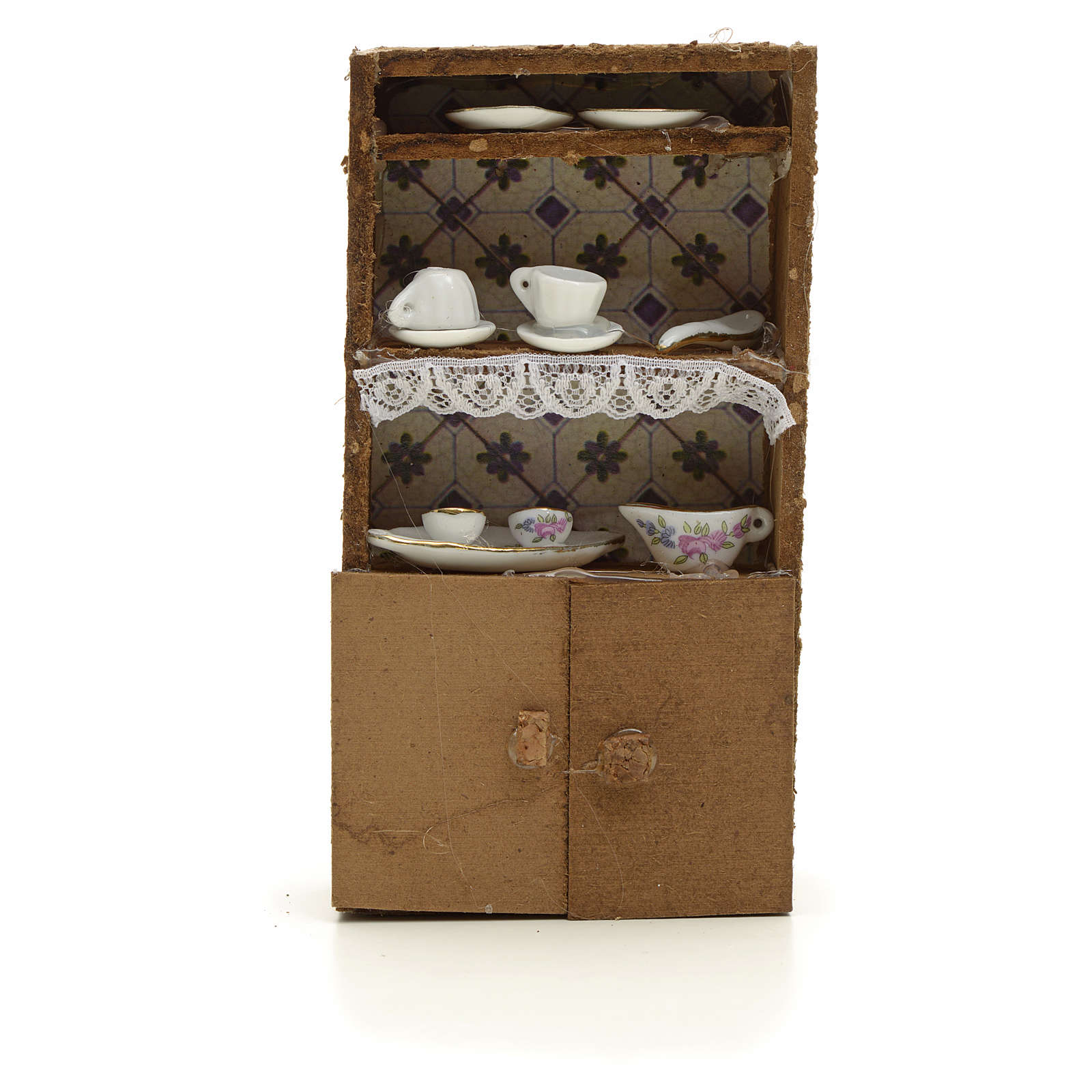 Nativity accessory, cupboard with porcelain cups 13x7x2.5cm 4