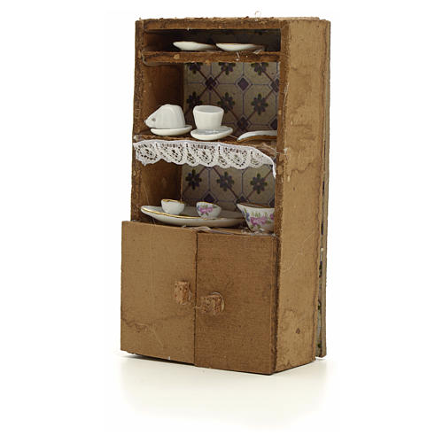 Nativity accessory, cupboard with porcelain cups 13x7x2.5cm 2