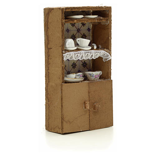 Nativity accessory, cupboard with porcelain cups 13x7x2.5cm 3