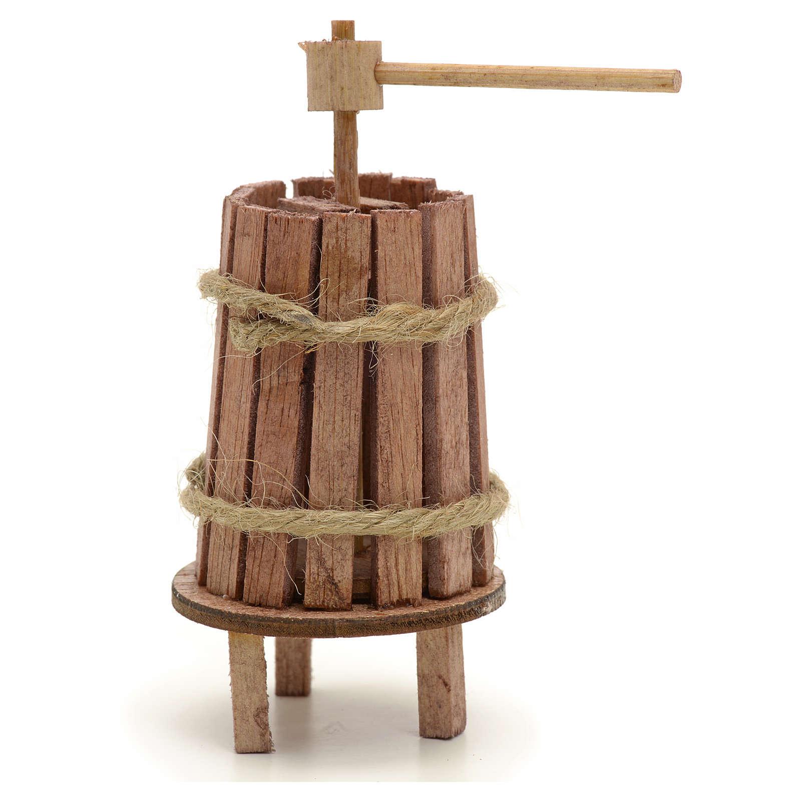 Pressoir bois miniature pour crèche 4 cm 4