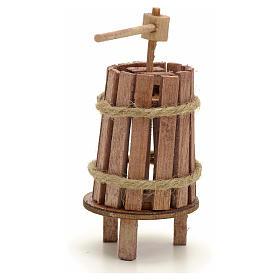 Pressoir bois miniature pour crèche 4 cm s2