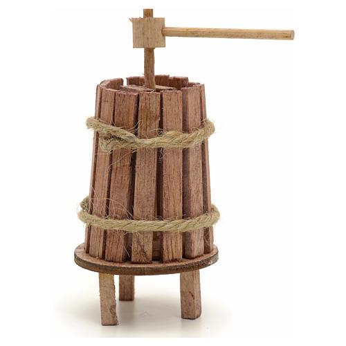 Pressoir bois miniature pour crèche 4 cm 1