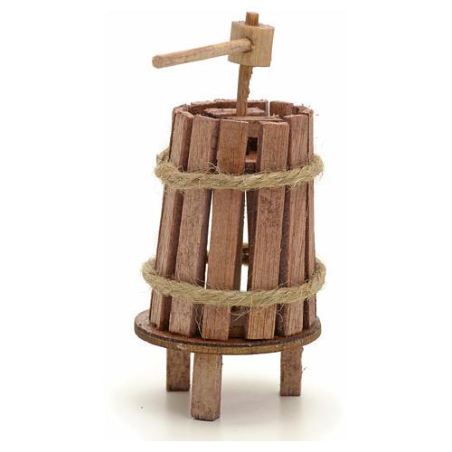 Pressoir bois miniature pour crèche 4 cm 2
