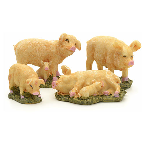 Nativity figurine, pigs 10 cm set of 4 pcs 1