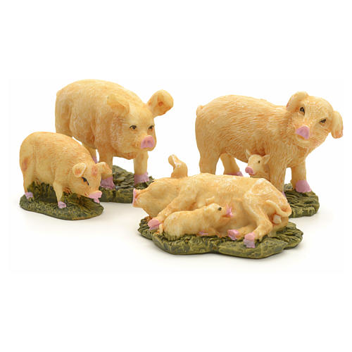 Nativity figurine, pigs 10 cm set of 4 pcs 2