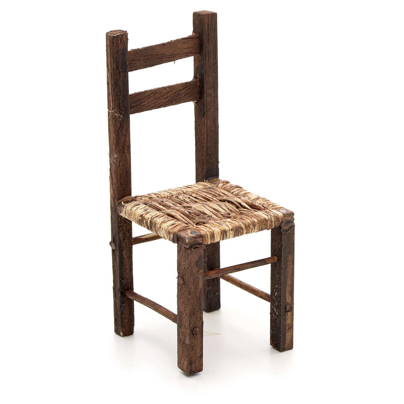 Chaise empaillée miniature crèche Napolitaine 12 c 4