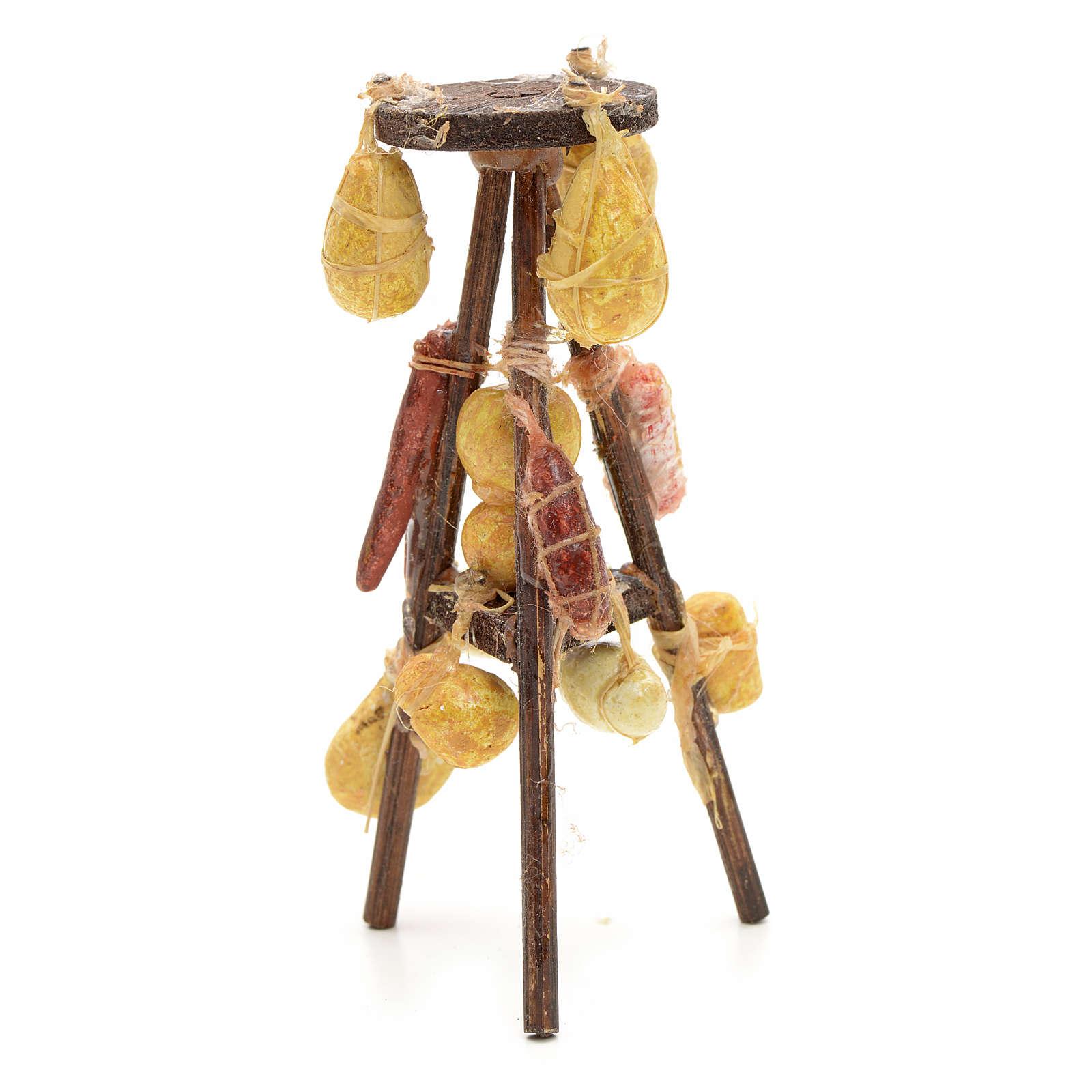 Tre piedi formaggi salumi presepe napoletano cm 10 4