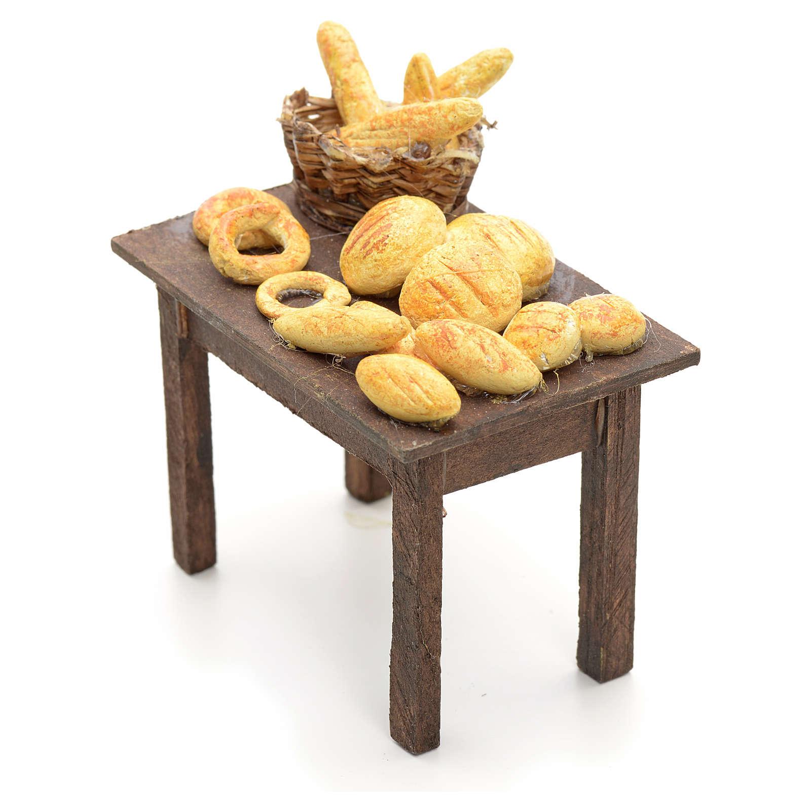 Mesa con panes y cestas pesebre napolitano 12cm 4