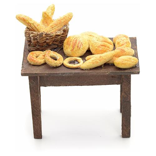 Mesa con panes y cestas pesebre napolitano 12cm 1